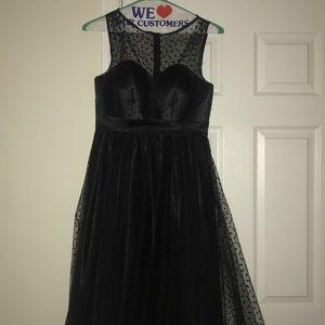 Black polkadot trim dress